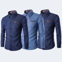 Moda Slim Fit Kıyafet Erkekler Batılı Casual Mavi Düğme Aşağı kot Uzun Kollu Gömlek