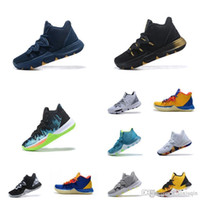Kyrie 5 pas cher mens black out or blanc vert loup gris jaune enfants kyries irving baskets de tennis