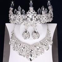 Bijoux en argent de charme 3 pièces costumes collier boucles d'oreilles diadèmes / couronnes ensembles de bijoux de mariée accessoires de mariage bijoux de mariage T303598