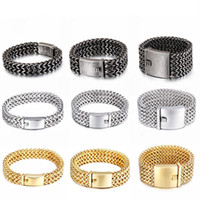 12mm 18mm 30mm Heavy Mesh Link Chain Bracelet Men Punk Vinta...