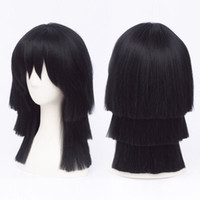 악마 사냥꾼 코스프레 가발 Iguro Obanai 블랙 계층 짧은 머리 왜냐하면 가발 헤어 가발 헤어 제품 40cm
