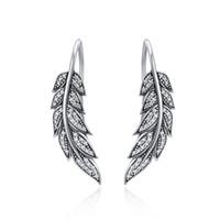 100% 925 plata esterlina alas de plumas de la vendimia pendientes de gota largos para las mujeres joyería de plata esterlina brincos YMSCE215