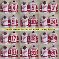 디트로이트 레드 날개 빈티지 버전 jerseys 19 Yzerman 24 Chelios 5 Lidstrom 9 Howe 91 Fedorov 7 Lindsay 14 Shanahan CCM Hockey Jersey