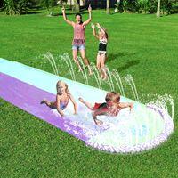 New inflável água Slide Duplo Racer Kids Pool Summer Park Quintal Jogar Fun Outdoor respingo deslizamento Deslize Wave Rider