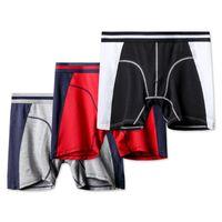 Les nouveaux hommes Modal Underpants jambes longues Sport Sous-vêtements Silky Slip doux Fashion Body Shaping respirant Panties