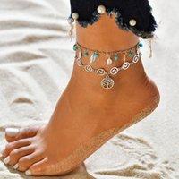 2020 Mode Plage Tortue Anklet Dangle Charms Anklet double couche Bracelet Anklet Bohême Pied chaîne jambe Bijoux