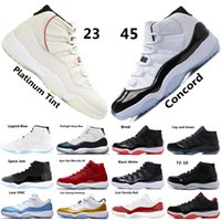 Concord 45 XI 11s Men Basketball Shoes Platinum Tint Gym Red...