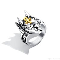 Punk Anubis Egyptian Cross Beast Ring For Men Stainless Stee...