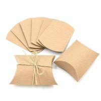 크래프트 종이 베개 상자 사탕 상자 작은 선물 상자 빈티지 웨딩 신부 샤워 베이비 샤워 생일 파티 호의 상자