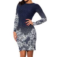 MoneRffi 2019 Sexy Druck Mantel-Frauen-Kleid mit Blumen Slim Fit Bodycon Kleider Paket-Hüfte-Partei-Kleid Mujer weiblich Vestidos