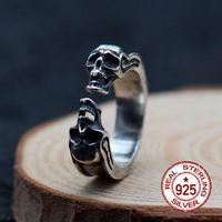 S925 الفضة الاسترليني الرجال خاتم شخصية الأزياء الكلاسيكية الرجعية الحلي الجمجمة النمذجة إرسال الحب هدية 19 عاما الساخنة
