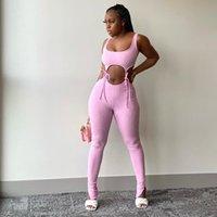 Бандаж Фитнес Мода Женщины соответствующих наборы рукавов Твердой Sporty Workout Двухкусочной Эпикировка Тощего топ и брюки Set