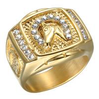 Hip Hop Mężczyźni Pierścień Tungsten Ze Stali Nierdzewnej Pozła Plated Horse Head Ring Crystal Pierścienie Dla Mężczyzn Biżuteria
