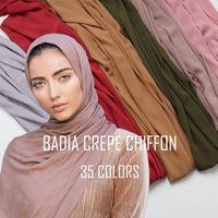 один кусок женщин твердого равнины крепа шифон хиджаб шарф палантины мягких длинные мусульманства платки мусульманских закручивания шифона шарфы хиджабах