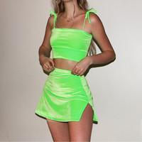 Sommer Sexy Zweiteiler Velvet Outfits Velour Neongrün Corduroy 2-teiliges Set Bandage Lace-up-Riemen-Crop Top Split Minirock Matching Sets