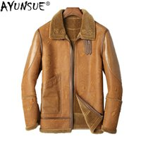 Cuir pour homme Faux Ayunsue 2021 Véritable veste Hommes Manteau de peau de mouton mouton pour véritables manteaux de fourrure de laine blouson Cuir Homme KJ1332