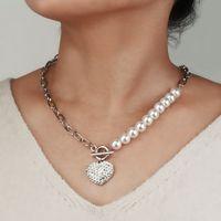 Collier de perles mode Tempérament diamant Pendentif Coeur Womens Collier élégant filles alliage d'argent Bijoux Tide Clavicule chaîne gros