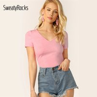 wholesale V- neck Form Fitted Tee Fashion Streetwear Slim Pin...