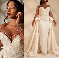 2020 African Mermaid Plus Size Wedding Dresses Overskirts Sheer Neck Long Sleeve Pearls Neaded Garden Country Bridal Gowns