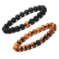 8 MM Esencial Difusor de Aceite perlas pulsera Hombres s hecho a mano Lava rock Ojo de Tigre Piedra Natural Brazalete Para las mujeres Joyería Artesanía de Moda