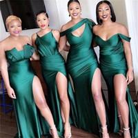 2020 Styles mixtes sirène robes de demoiselle d'honneur taille plus fendus épaules de mariage robe de soirée Robes De Fiesta demoiselle d'Hohor BM0199