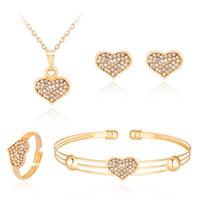 cuore di cristallo insieme dei monili di lusso per i monili di nozze le donne forma Oro Ciondoli Amore Orecchini collana Anelli polsino del braccialetto di modo