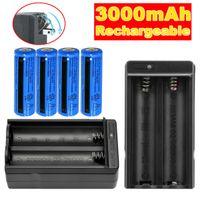 4PCS Uppladdningsbart 3000mAh Li-ion Batteri 3.7V BRC 11.1W för ficklampa Laserpenna + 2st Dubbel laddare