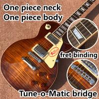 ein Stück Ausschnitt einteilige Körper elektrische Gitarre in Sunburst, Upgrade-Tune-o-Matic Brücke Gitarre Tiger Flamme Gitarre Rauch Farbe