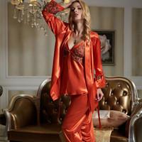 بيجامة مجموعات أنثى الحرير فو ملابس خاصة مثير الحرير الحرير منامة لمدة ثلاثة قطعة مثير الرباط الصفحة الرئيسية ملابس X1531