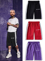 19SS Palm Angels Shorts hombres Alta calidad a rayas Retro Casual Shorts deportivos Streetwear Hip Hop Kanye West Palm Angels