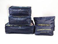 9styles 6PCS / مجموعة السفر حقيبة التخزين المنظم الملابس الحقيبة ماء طباعة حقائب مستحضرات التجميل زيبر غسل أكياس شبكية حقيبة ماكياج FFA2521