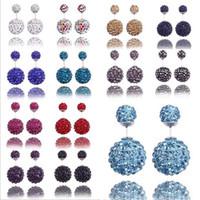 Örhängen Shambhala stud örhängen varm försäljning silver dubbel boll stud örhängen för kvinnor flicka mode smycken grossist gratis frakt - 0266Wh