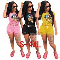 Yeni Kadın Tasarımcı Eşofman Mektupları Dudaklar Desen tişört Üst ve fırfır Delik Şort yazlık kıyafetler İki Adet Giyim Streewear D62908 ayarlar