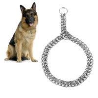 Acero inoxidable antideslizante para mascotas collar de perro Hierro Metal tracción banda para caminar Herramienta de formación de dos hileras de la cadena del collar Pet Supplies