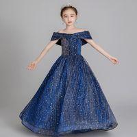 Burgonya Kızlar Yarışması Elbise Küçük Kızlar Mavi Önlük Bebek Turkuaz Çocuk Balo Glitz Çiçek Kız Elbise Düğün boncuklu 2020 için