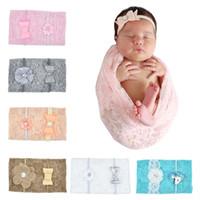 Swaddle suave INS infantil del bebé de empañar Wrap Manta diadema Conjunto recién nacido de encaje de algodón sueño Saco Wrap paño con diadema