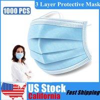 Parade toz geçirmez Elastik kulak askısı Yüz Ağız Maske için 1000 adet / Pac ABD Kaliforniya Stok 3 Katmanlar Dokuma Tek Kullanımlık Koruyucu Yüz Maskeleri
