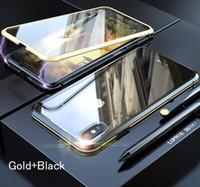 فاخر الواجهة + الظهر 360 امتصاص الزجاج المعدني المغناطيسي ل iPhone 7 8 6 زائد حالة الهاتف ل iphone 11 برو ماكس XR XS Max Cover
