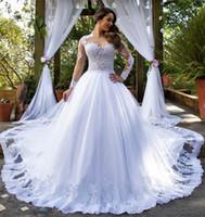Princesa Vestidos de Noiva Muçulmanos Vestido Branco Vestido de Bolas de Manga Longa Vestido De Casamento Campo Jardim Jardim Nupcial Vestidos Árabe Robes de Mariée