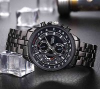 Rosra Relojes para hombre Reloj deportivo para hombre Banda de acero negro Reloj de pulsera de cuarzo relogio masculino montres homme horloge mannen