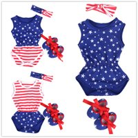 Flag Baby Girl Bodysuit Newborn Jumpsuit First Walker Headba...