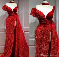 2020 Arabe Aso Ebi rouge foncé sirène robes de soirée pailletée Robes de bal Robe formelle fendus Haute Soirée robe de robes