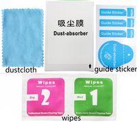 Temizleme Cep telefonu LCD temperli cam Ekran Koruyucu Alkol temizliği Wet ve Mendil Toz-Emici Kılavuz Sticker 1'inde Kuru 2 giysi