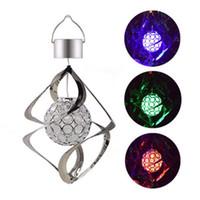 Lampes solaires suspendues extérieures Carillons de vent Lumières LED Changement de couleur Étanche Spirale Spinner Lampe pour Jardin Terrasse Balcon Extérieur