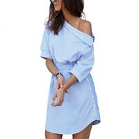 Bayan Giyim Tasarımcısı Elbiseler Kadın Yaz Elbise Mavi Çizgili Gömlek Kısa Mini Dimi Seksi Yan Yarım Kollu Plaj Sundress
