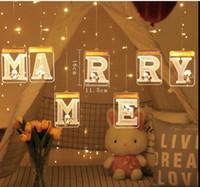 5V LED-Licht-Schnur USB Luminous Letters 3D Creative-Vorhang Lichterkette Romantische hängende LED-String-Tag Hochzeit Hauptdekoration
