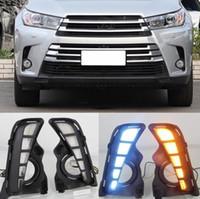 2PCS Car LED Daytime Running luz Car Acessórios impermeável 12V DRL Fog Lamp Decoração Para Toyota Highlander 2018 2019