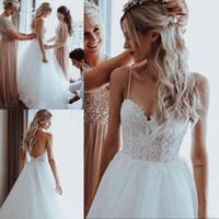 2020 Lindo Pérolas Frisadas Tulle Boho Vestidos de Casamento Varredura Trem Spaghetti Straps Praia Vestidos De Noiva Apliques de Casamento Vestidos Para Noivas