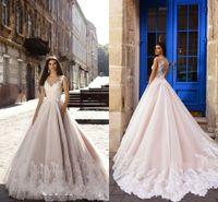 Neueste Champagner-Spitze A-Line-Strand Böhmisches Hochzeitskleid Luxus-Spitze Appliziert Boho-Schichten Tüll Brautkleid Custom Made