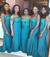 Türkis Teal Blau Meerjungfrau Brautjungfer Kleider aus Schulter Spitze Applique Afrikanische Hochzeit Gast Maid of Honor Gowns BD8960